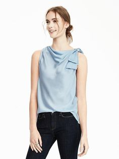 Knot blouse.  Sleeveless blous. Ivy blue.