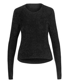Love this Black Feather Crop Sweater on #zulily! #zulilyfinds