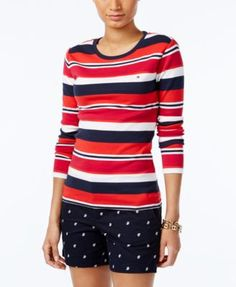 TOMMY HILFIGER Tommy Hilfiger Long-Sleeve Logo T-Shirt. #tommyhilfiger #cloth # tops