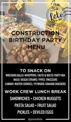 Construction Birthday Party Ideas   Construction Theme Food & Menu Ideas   by Posted Fete #constructionbirthday #constructiontheme #boysbirthday