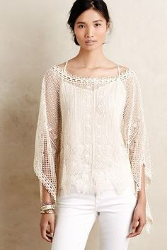 Sparrow Scalloped Crochet Poncho #anthrofave