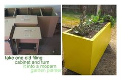 Turn an old filing cabinet into an upcycled planter.