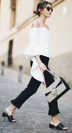 Alexandra Pereira + ultimate contrast + bold black and white outfit + semi-flared cropped trousers + bell sleeved white blouse + A look like this needs no dressing up + sandals + simplistic handbag!  Top: Chicwish, Trousers: Zara, Sandals: Tony Bianco.