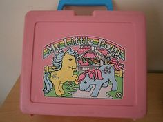 My Little Pony Vintage Lunch box 80's  Retro Bluebird. *pretty sure I had this exact lunch box in Kindergarten*   :)