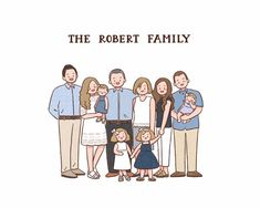 Excited to share this item from my shop: Custom family portrait/ Digital portrait/ Custom illustration/ Birthday gift/ Gift for her/ Digital family drawing/ Gift ideas/ Anniversary Large Family Poses, Family Picture Poses, Fall Family Photos, Family Posing, Family Pictures, Family Portrait Drawing, Family Drawing, Family Portraits, Family Illustration