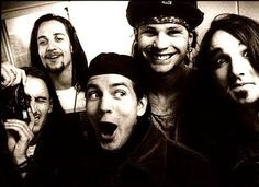 Mike McCready, Stone Gossard, Eddie Vedder, Jeff Ament and Dave Abbruzzese    Ed's all: Oh no you didn't DAVE!  Dave's all: Maaaaaybeeee.
