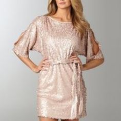 Jessica Simpson blush/pink sequin dress Pink/blush champagne sequin dress from Jessica Simpson that's perfect for parties, date nights and any other chic events! It fits true to size and is great for someone who wears a small or medium. The dress has slits in the sleeves and also comes with a removable matching sequin belt. Worn once! In perfect condition! Jessica Simpson Dresses