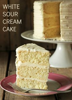 White Sour Cream Cake: Moist, dense cake, simple to make using doctored cake mix. Also several flavor variations.