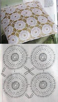 Unit crochet pattern home home Crochet Squares, Crochet Granny, Crochet Motif, Crochet Doilies, Crochet Stitches, Knit Crochet, Crochet Patterns, Doily Rug, Crochet Gifts