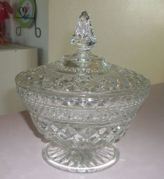 Vintage Anchor Hocking WEXFORD Footed Candy Dish Bowl With Lid - ebay