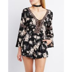 Charlotte Russe Floral Lattice Bell Sleeve Romper ($20) ❤ liked on Polyvore featuring jumpsuits, rompers, black combo, bell sleeve romper, floral bell sleeve romper, playsuit romper, long-sleeve rompers and boho romper