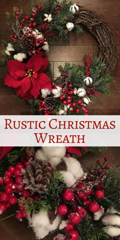 Rustic Christmas Wreath | Christmas Decorations | Christmas Wreaths | Holiday Decor | Cotton Wreath | Farmhouse Christmas Decor #Affiliate