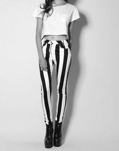 Vertical stripe pants <3