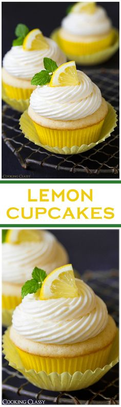 Lemon Cupcakes with Lemon Buttercream Frosting - so SO delicious! Perfect lemony flavor.