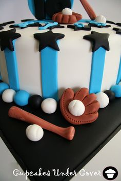 To make the baseballs, bat, and gloves from fondant. Baseball Glove Cake, Baseball Theme Cakes, Sports Themed Cakes, Sport Cakes, Beautiful Birthday Cakes, Boyish, Cakes For Boys, Birthday Cupcakes, Cake Tutorial