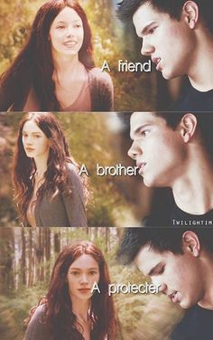 Jacob imprinted on renesmee and described as a friend, a brother and a protector. Kinda wish we could see what happened between them. Twilight Wolf Pack, Twilight Poster, Twilight Saga Quotes, Twilight Jokes, Twilight Saga Series, Twilight Pictures, Twilight Series, Twilight Movie, Twilight Jacob And Renesmee