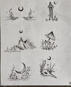 #cordulia #line #fineline #draw  #organic #mushroom #moon #mountain #plants