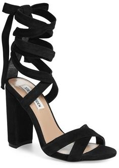 0a1e871ce81 Women s Steve Madden  Christey  Wraparound Ankle Tie Sandal Shoes Heels  Boots