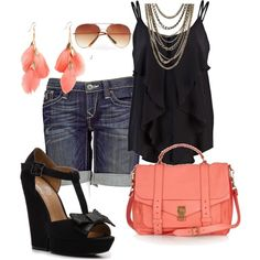 Love the ruffled layers, earrings, colors, and shoes :)