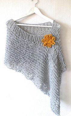 Knit poncho knit wrap wool poncho women knitwear light gray melange knit poncho boho chic poncho with Flower lose knit gift for Her Poncho Knitting Patterns, Knitting Wool, Knit Patterns, Free Knitting, Poncho Pullover, Wool Poncho, Winter Poncho, Crochet Capas, Knit Crochet