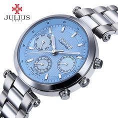 US $61.80 - 2017 Julius Watch Women Stainless Steel Chronograph 3 Dials Limited Edition Silver Quartz High Quality Top Brand Whatch JAL-029