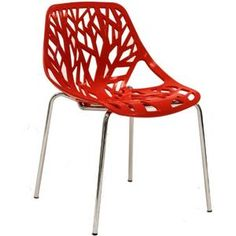 LexMod Intricate Orchard Chair in Red Plastic