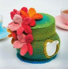 Pretty funny tea cosies by Loani Prior-knitting wool shop, melbourne, knitting yarn, bamboo, silk, classes, crochet,