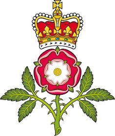 The Tudor Crest, combining the white rose of York with the red rose of Lancaster.