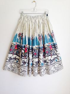 Vintage 50s Novelty Print circle skirt Size by foxycatvintage