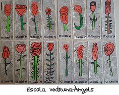 Punt de llibre amb rosa de sant Jordi realitzat per alumnes de P-5