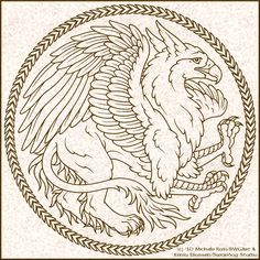 Griffin Box Logo II by swandog on DeviantArt Griffin Tattoo, Griffin Logo, Fantasy Creatures, Mythical Creatures, Dragons, Motifs Animal, Design Tattoo, Coloring Book Pages, Monster