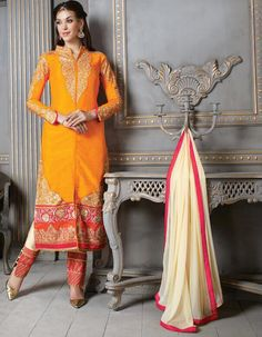 $71.35 Yellow Silk Pakistani Style Suit 57878