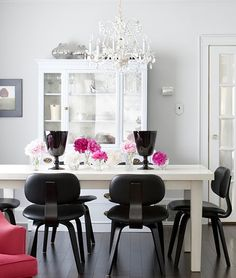 Chic Dining Room - chandelier - gray walls, black and pink