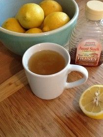 """Homemade Mamas: Hot Honey Lemon """"Aid"""" - for sore throats and coughs.  My husband loves this.  Boil water like you're making a cup of tea, add 1 tablespoon lemon juice, 2 tablespoons honey.  Stir."""