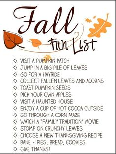 Free Fall Activity Checklist for adults and kids. Sumo's Sweet Stuff: .:Autumn Bucket List Printable - Spool and Spoon:.