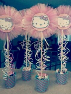Hello Kitty centerpieces Hello Kitty Baby Shower, Hello Kitty Theme Party, Hello Kitty Themes, Hello Kitty Cake, Hello Kitty Birthday, Hello Kitty Centerpieces, Party Centerpieces, 2nd Birthday Parties, Girl Birthday