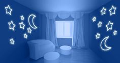 Stars and Moon for walls or ceilings glow decals