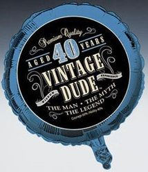 Vintage Dude 40th Birthday Foil Balloon Ideal For A Guys Mens