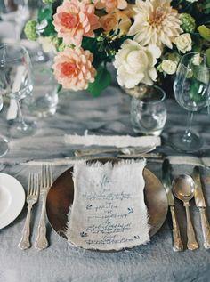 Vintage-inspired Scottish wedding table decor: http://www.stylemepretty.com/2015/11/12/elegant-cliff-top-ceremony-in-scotland/ | Photography: Laura Gordon Photography - http://lauragordonphotography.com/
