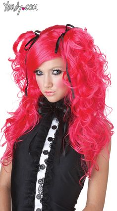 Doll House Hot Pink Wig, Pink Ponytail Wigs, Wigs Pink
