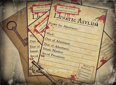 Asylum Invitations  Set of 8 with Envelopes by BedlamSupplyCo, $10.00 halloween mad scientist horror party invites