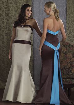 Spectacular blue and brown matched bridal party dresses