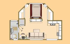 """The 319 sq ft Small House Floor Plan of the """"Nightingale""""."""
