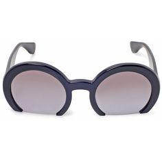 Miu Miu Black Half-Frame Round Sunglasses ($290) ❤ liked on Polyvore featuring accessories, eyewear, sunglasses, clear lens glasses, oversized sunglasses, miu miu sunglasses, retro sunglasses and wide sunglasses