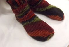 Unisex Slippers Sock Style Handmade Stripes by SewDarnComfy