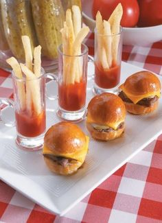 We love the idea of passing mini cheeseburgers and french fries.