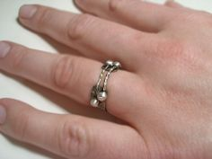 Statement silver ring silver pebbles banded ring by BaccaraJewelry, $58.00