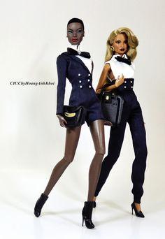 """Grace and Kim"" Fashion Royalty Dolls, Fashion Dolls, Barbie Mode, Diva Dolls, African American Dolls, Beautiful Barbie Dolls, Black Barbie, Barbie Collection, Barbie Friends"