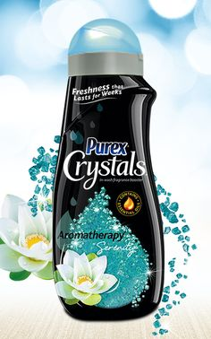 Purex Crystals Aromatherapy – Serenity keeps you calm all day long with the gentle scent of water-lilies.