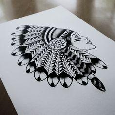 Native Girl© 2012 Tom Gilmourhttp://www.tomgilmour.comhttps://www.facebook.com/tomgilmourillustration